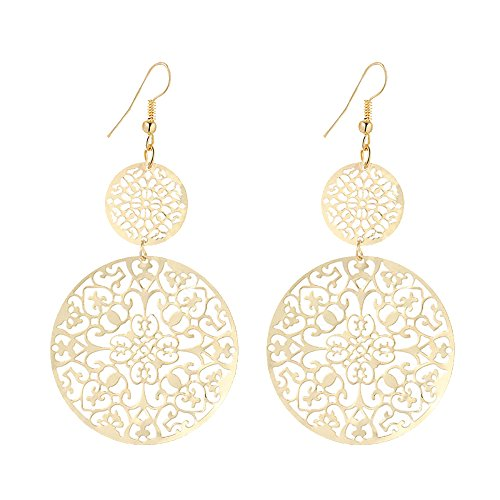 IDB Delicate Filigree Dangle Double Circle Drop Hook Earrings - Available in Silver and Gold Tones (Gold Tone)