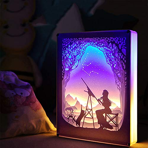 EFGS 3D Paper Carving Lamp, Stereo Creative Remote Paper-Cut Light Box Shadow Light Warm Romantic Atmosphere Halloween Christmas