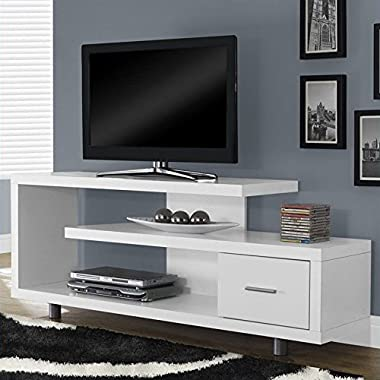 Monarch Specialties I 2573 White with 1 Drawer TV Stand, 60