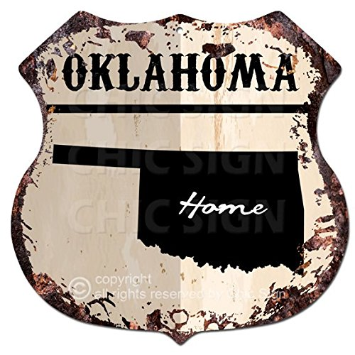 Chic Sign HOME OKLAHOMA Map Vintage Retro Rustic 11.5