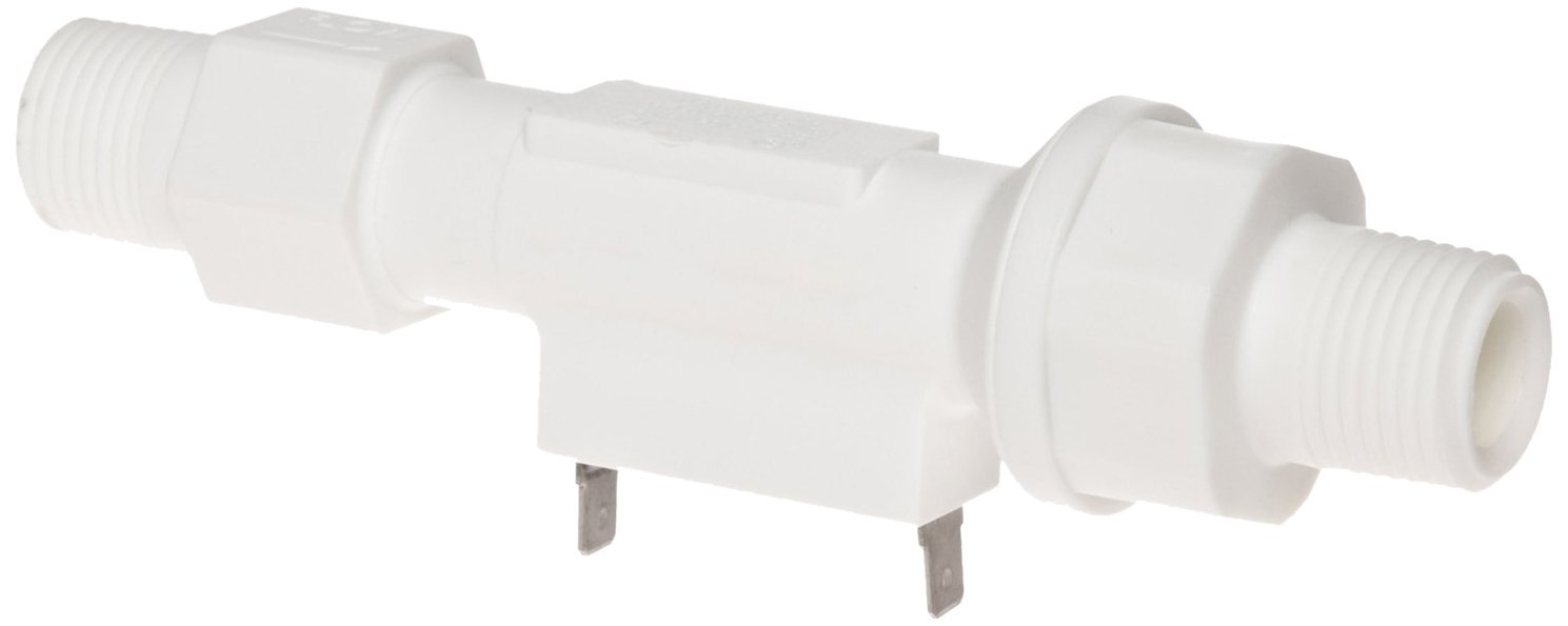 Gems Sensors FS-150 Series Polypropylene Flow Switch with Low Pressure Drop, Inline, Piston Type, Normally Closed, 0.5 gpm Flow Setting, 1/2'' NPT Male