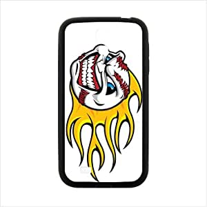 Custom Flaming baseball Angry Face Pattern TPU (Laser Technology) Case Cover for Samsung Galaxy S4 I9500
