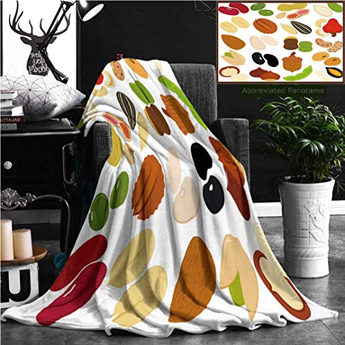 """Nalagoo Unique Custom Flannel Blankets Of Beans Nuts Seeds Red Green Beans Peanut Pumpkin Seed Macadamia Pistachio Cashew Super Soft Blanketry for Bed Couch, Twin Size 70"""" x 60"""""""