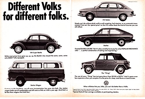 Vintage Vw Ads (1974 VW Super Beetle The Thing Bus 412 Sedan Dasher Original 2 Page Magazine Ad)