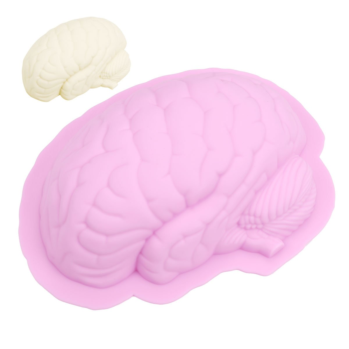 Freebily 3D Brain Shaped Fondant Cake Silicone Mold Cookies Chocolate Mould Party Favors Kitchen DIY Baking Decorating Tools