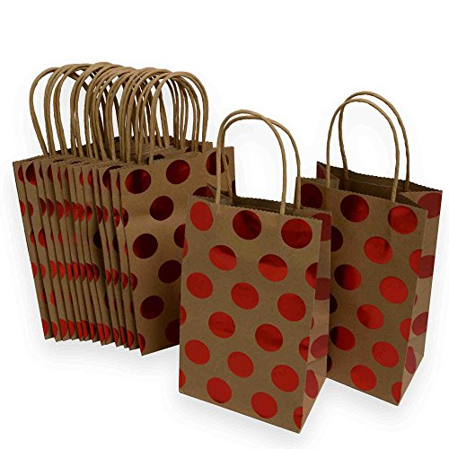 Kraft Gift Bags, foil hot-stamp polka-dot Design, 15 Small bags, 5 1/4 x 8 1/2 x 3 1/4 (Red)
