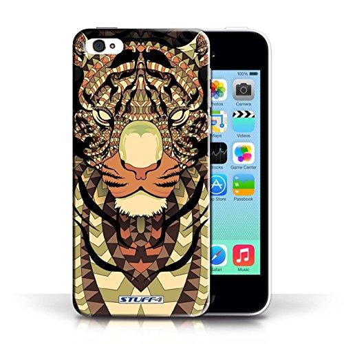 iCHOOSE Print Motif Coque de protection Case / Plastique manchon de telephone Coque pour Apple iPhone 5C / Collection Motif Animaux Aztec / Tigre-Sépia
