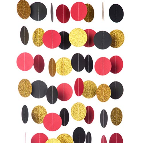 - MOWO Glitter Paper Garland Circle Dots Hanging Decor,2.5'' in Diameter,10-feet(Gold Glitter/red/Black,2pc)