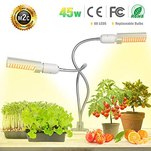 LED Plant Grow Light for Indoor Plants- 45W Full Spectrum Sunlike Replacement Plant Light with Double Switch - 360 Degree Dual Head Flexible Gooseneck Grow Lamps by Bozily