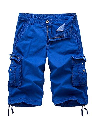 Women's Cotton Loose Fit Zipper Multi-Pockets Twill Bermuda Drawstring Cargo Shorts Blue US 18