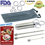 [FDA Approved] BBQ Injector Meat Injector Syringe Marinade Injector Kit 3 Stainless Steel Seasoning Food Needles for Turkey Grilling Smoking, Recipe Ebook Cleaning Brushes Storage Pouch Gift Box