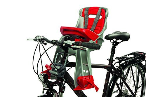 OKBABY Orion - Seggiolino Anteriore per Bambini, Sicurezza in Bicicletta dai 7/8 Mesi (15 kg) - Argento e Rosso 4 spesavip