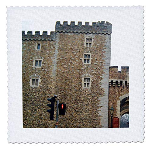 3dRose Jos Fauxtographee- Cardiff Wales Castle Wall - The Outer Walls of The Cardiff Castle in Wales on a Main Street - 25x25 inch Quilt Square ()