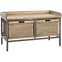 Safavieh American Homes Collection Noah Antique Pewter and Medium Oak Storage Bench