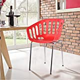 Merax Eames Style Molded Modern Plastic Armchair Dining Chair Contemporary Retro (Red)