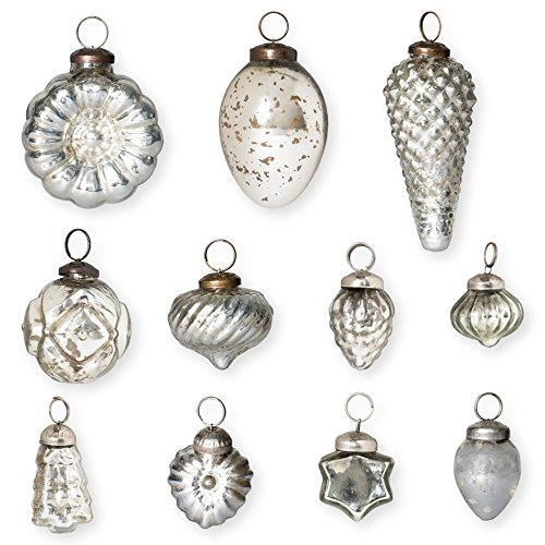 Christmas Tablescape Decor - Silver Mercury Glass Antique Christmas Ornaments - Set of 12