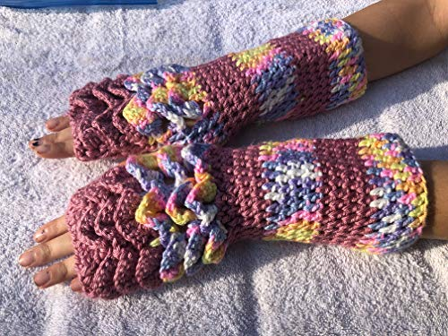 Baby Bright Variegated and Victoria Rose Dragon Scales Top Only 12x4 Inch Fingerless ()