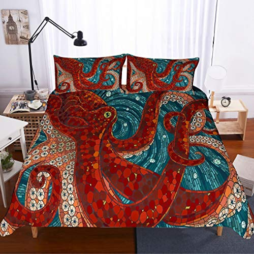 APJJQ 3D Digital Print Octopus Bedding Set King,Red Octopus Tentacles Background Blue Duvet Cover Set for Kids,Teens,Boys,Girls and Adults,3PC with 1 Duvet Cover 2 Pillow Shams ()