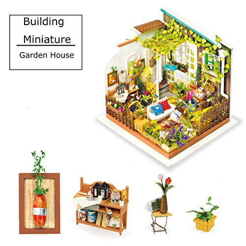 QLCRAFT Miniature Building - DIY Garden House with Furniture and Accessories - Doll House for 14 Year Old Girls, Renovation Construction Kits Led Light - Unique Birthday for Her