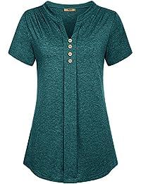 Women's Notch V Neck Long Sleeve Pleat Knit Henley Tunic Shirt