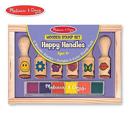 Melissa & Doug Happy Handles Wooden Stamp Set: 6 Stamps and 6-Color Stamp ()