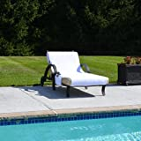 Linum Home Textiles CL00-GWP Grand Size Chaise Lounge Cover with Side Pockets - White