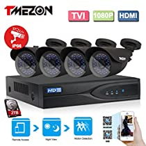 TMEZON 4-Channel HD-TVI 1080p Video Security System DVR with 2TB Hard Drive and (4) HD-TVI 1080p Bullet Cameras with IP66 Weatherproof Housing and IR Night Vision