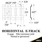 US Cargo Control Horizontal E Track - 8 Foot Length Cargo E Track - Galvanized Finish - 12 Gauge Steel - Easily Secure Cargo in an Enclosed Van Trailer - 2 Pack