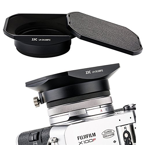 JJC Metal Square Lens Hood w/ABS Hood Cap Protector & 49mm Thread Filter Adapter Ring for Fujifilm X100F X100T X100S X100 X 70 Digital Camera replaces Fuji LH-X100 Lens Hood & AR-X100 Adapter/Black (Fuji Lens Digital Filter)