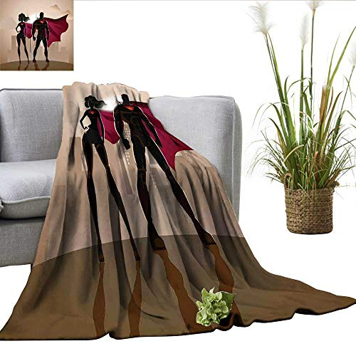 ScottDecor Superhero Coverlet Super Woman and Man Heroes in City Solving Crime Hot Couple in Costume Blankets Queen Size Beige Brown Magenta W60 xL62 -