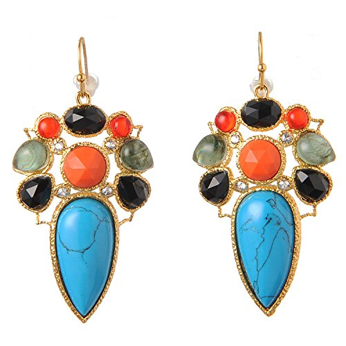 Multi Colored Tourmaline Earrings (De Buman 18K Yellow Gold Plated Multi-colored Crystal Dangle Earrings)