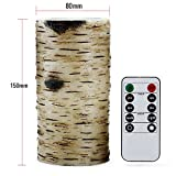 "Comenzar Flameless Candles Real Wax Birch Bark Effect LED Candles 6"" with 10-key Remote Control - 2/4/6/8 Hours Timer"