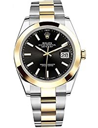 Datejust 41 Stainless Steel & 18K Yellow Gold Oyster Watch Black Dial 126303