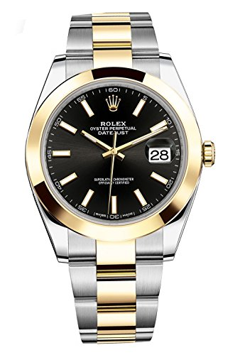 Rolex Datejust 41 Stainless Steel & 18K Yellow Gold Oyster Watch Black Dial 126303