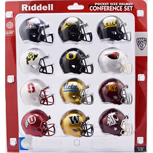 Riddell NCAA Pocket Pro Helmets, PAC 12 Conference Set, (2018) New College Football Team Helmets