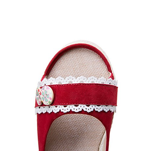 Low on EGHLG004791 Blend WeiPoot Open Red Heels Women's Toe Pull Materials Sandals XqWBFSR