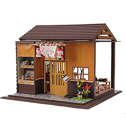 diy japanese furniture. Rylai Wooden Handmade Dollhouse Miniature DIY Kit For Girls - Japanese Sushi Model Series Assembling Diy Furniture