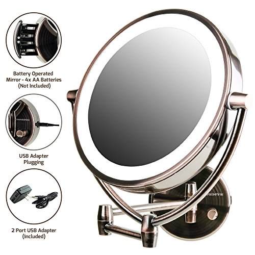 Ovente Wall Mount,USB Adapter Operated, Dimmable LED Lighted Makeup Mirror, 1x/7x Magnification, 9.5 inch, Antique Brass (MLW45AB1x7x)