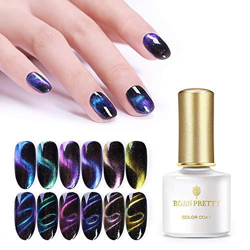 BORN PRETTY Gradient 3D Magnetic UV Gel Polish Glitter Cat Eye Nail Art Gel Varnish Design 6ml ()