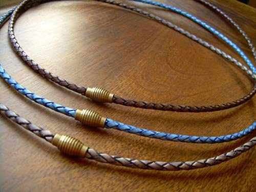 Handmade Braided Leather Necklace, Leather Necklace, Mens Necklace, Mens Jewelry, Jewelry, Necklace, Ribbed Brass Magnetic Clasp Necklace