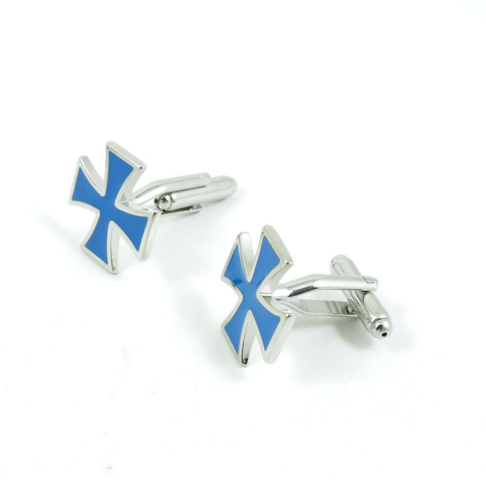 50 Pairs Cufflinks Cuff Links Fashion Mens Boys Jewelry Wedding Party Favors Gift PUK015 Blue Cross