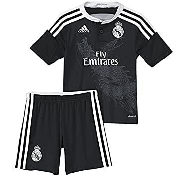 9edf0bbc510 2014/2015 Real Madrid Kids RONALDO #7 All Black Away Alternate Jersey &  Shorts Kit Youth Sizes (L (Ages 8-9)): Amazon.co.uk: Sports & Outdoors