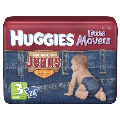 Huggies Little Movers Jean Diapers size 3, 29 count