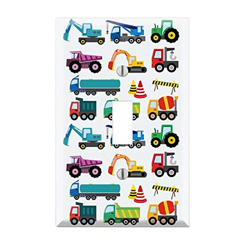 Construction Trucks LightSwitch Plate, Truck Light Switch Cover, Trucks Wall Plate, Boys Bedroom Decor, Cars, Trucks Boys Nursery Decor TF27