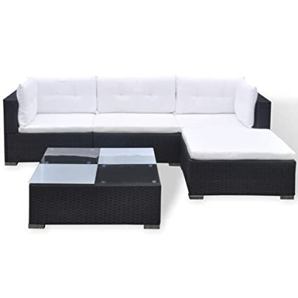 Amazon.com: yorten 5 Piece Garden Lounge Set Rattan Sofa Set ...