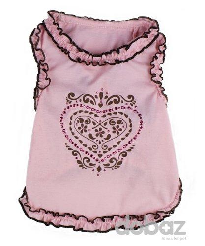 Ruffles and Hearts Pet Shirt, Pink – Large, My Pet Supplies
