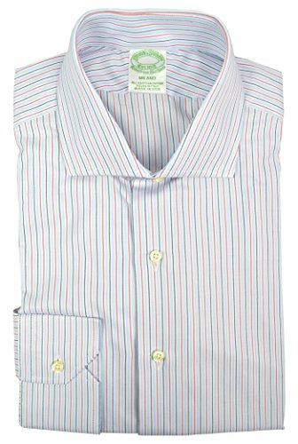 - Brooks Brothers Men's Milano Slim Fit Egyptian Cotton Shirt White Blue Red Rope Striped (17
