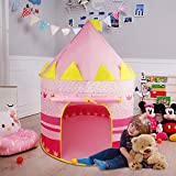 Kids Tent Princess Castle Tent Foldable Tent Easy to Carry Indoor Outdoor Tent Ship with 3 Flower Crowns (Pink)