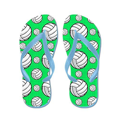 Cafepress Neon Groen Volleybalpatroon - Flip Flops, Grappige String Sandalen, Strand Sandalen Caribbean Blue