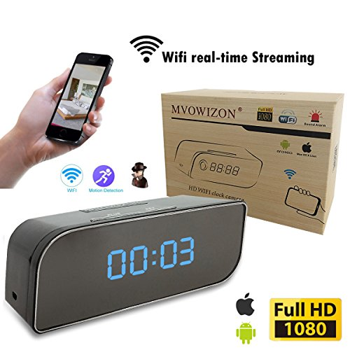 MVOWIZON Alarm Clock with Camera M1 WIFI Control Full HD 1080P Spy Camera Motion